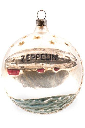 Marolin Ball with Zeppelin with Glitter MA2011115 German Glass Ornament w/Gift Box