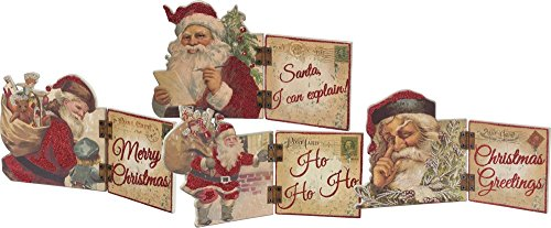 Primitives by Kathy Vintage Christmas Hinged Sitters, Set of 4, Santa, 4 Piece