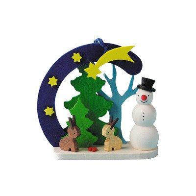 Alexander Taron Importer 4414 Graupner Ornament – Snowman with Bunnies – 2.625″ H x 2.75″ W x 1″ D, Blue