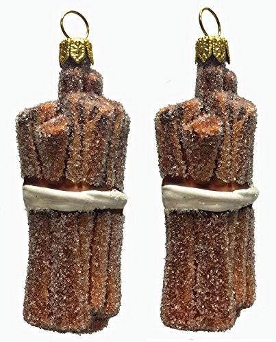 Pinnacle Peak Trading Company Bundle of Cinnamon Sticks Polish Glass Christmas Ornament Food Set of 2 Poland