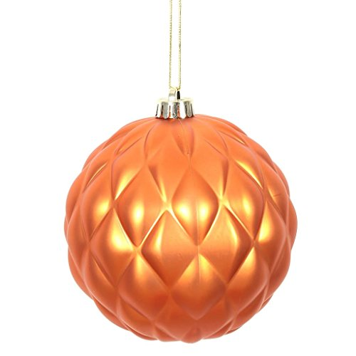 Vickerman 472743-4 Burnish Orange Matte Round Pine Cone Christmas Tree Ornament (6 pack) (N173218D)