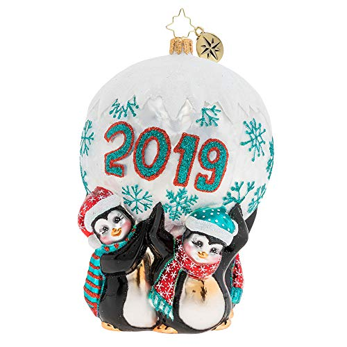 Christopher Radko Hand-Crafted European Glass Christmas Decorative Figural Ornament, Holding Up 2019