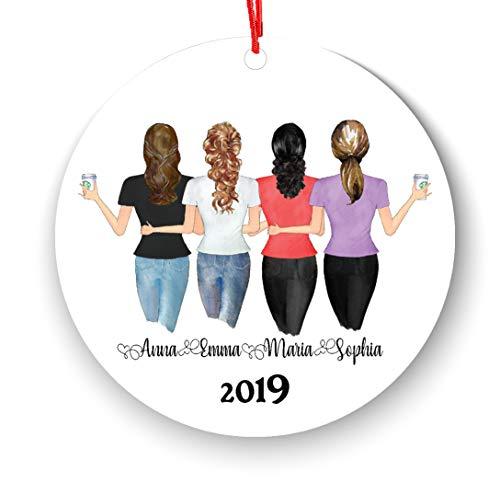 Personalized Best Friends Christmas Ornament Soul Sisters BFF Bestie Gift, Distance Friendship, Custom Besties (4 Friends)