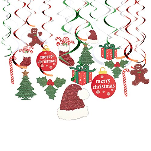 Juvale 30-Pack of Hanging Christmas Decorations – Festive Xmas Swirl Decorations, Winter Wonderland Party Decor, Assorted Designs and Colors