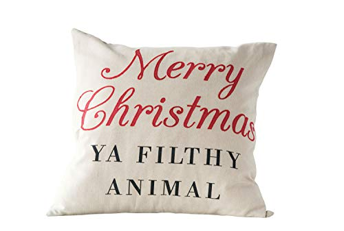 Creative Co-op Merry Christmas Ya Filthy Animal Square Cotton Pillow, Multicolor