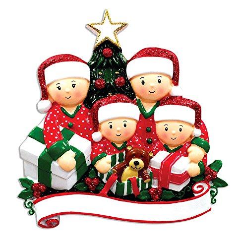 Polar X Family Series Opening Presents Family of 4 Personalized Christmas Tree Ornament