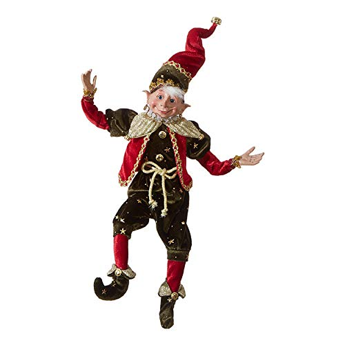 Raz 16″ Red and Green Star Posable Elf Christmas Figure 3902268