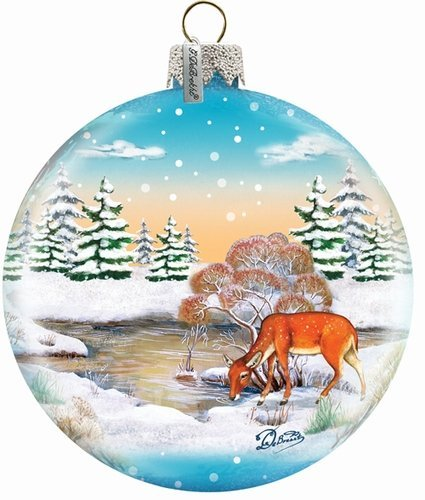 G. Debrekht Winter Reindeer Ball Glass Ornament, 3.5-Inch