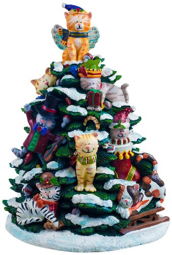 San Francisco Music Box Factory Holiday Cats Lighted Tree Figurine