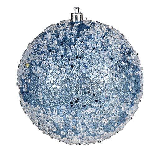 Vickerman 599105-4″ Periwinkle Glitter Hail Ball Christmas Tree Ornament (6 pack) (N190129D)