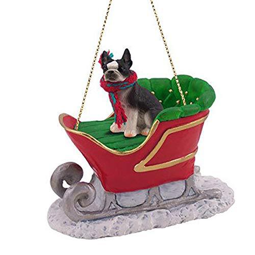 Conversation Concepts Boston Terrier Sleigh Dog Christmas Ornament