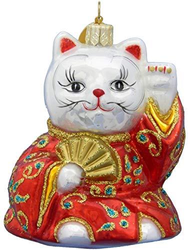 Landmark Creations Lady Maneki Neko Japanese Good Luck Cat Glass Ornament