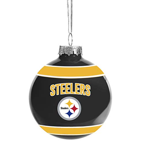 FOCO Pittsburgh Steelers Glass Ball Ornament – Limited Edition Steelers Ornament – Represent The NFL and Show Your Team Spirit with Officially Licensed Pittsburgh Football Holiday Fan Decorations