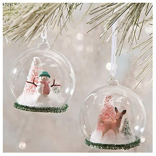 Bethany Lowe Set/2 Deer Snowman Globe Christmas Pink Ornament Retro VNTG Decor