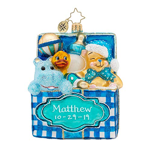 Christopher Radko Baby's Bounty Blue Boy Personalized Christmas Ornament