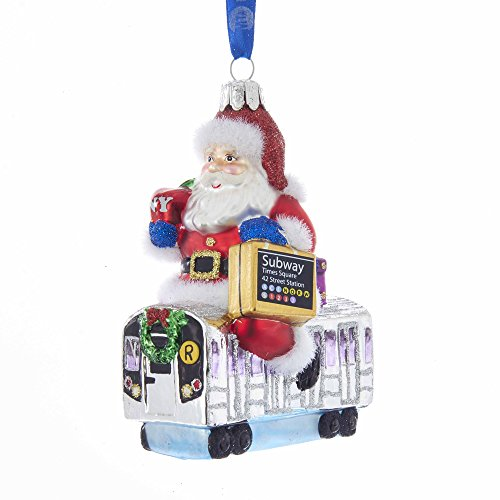 Kurt Adler Kurt S. Adler 4.65″ MTA Santa on Subway Glass Ornament