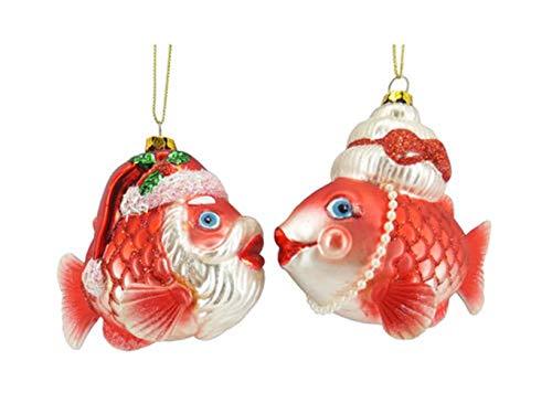December Diamonds Glass Ornament – Mr and Mrs Santa Fish, Set of 2