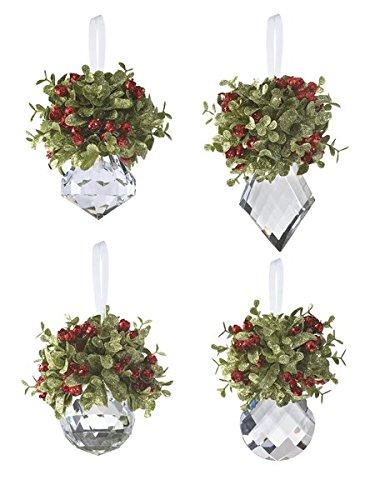 Ganz Kissing Krystals KK10 5″ Mini Mistletoe Krystal Ornaments with Hanger (4 Pack Assorted)