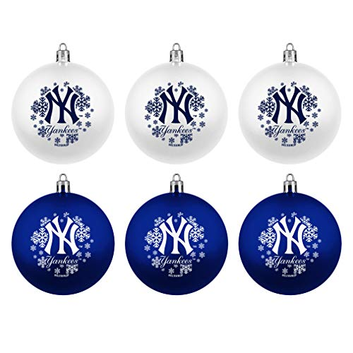 Topperscot MLB New York Yankees Home & Away Shatter Proof Ball Ornament Gift Set of 6