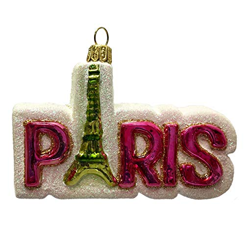 Pinnacle Peak Trading Company Pink Paris France Word with Eiffel Tower Polish Glass Christmas Tree Ornament