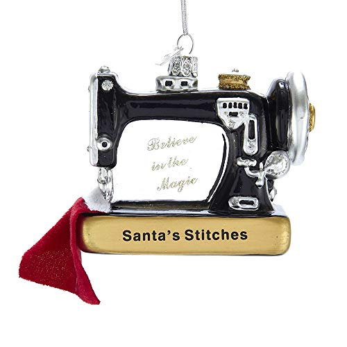 Kurt-Adler Glass Ornament with S-Hook and Gift Box, Hobby Collection (Sewing Machine, NB1436)