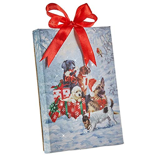 Raz Imports Dogs Puppies with Gifts Lighted Print Ornament with Easel Back 6″L X 1″W X 6″H