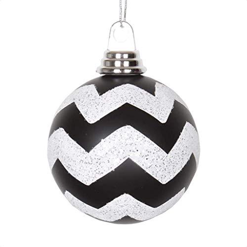 Vickerman 395431-4″ White-Black Plastic Matte-Glitter Chevron Ball Christmas Tree Ornament (4 pack) (M143377)