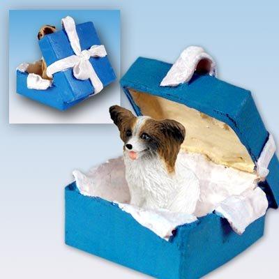 Conversation Concepts Papillon Brown & White Gift Box Blue Ornament