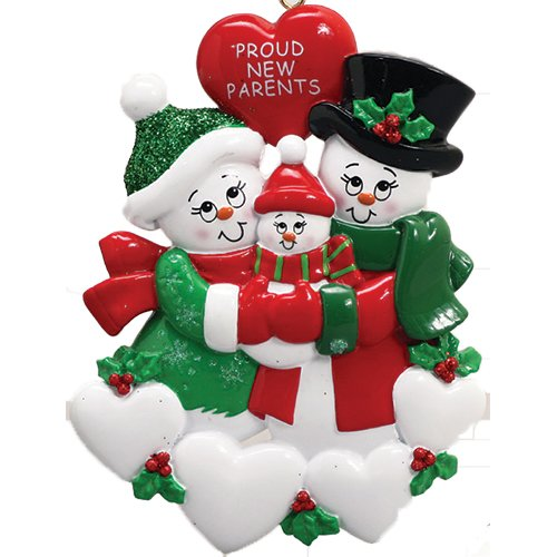 Personalized Proud New Parents Christmas Tree Ornament 2019 – Happy Two Snowman Mom Dad Couple Love Baby Shower Boy Girl Gender Neutral Holiday Congratulation Welcome God Bless – Free Customization