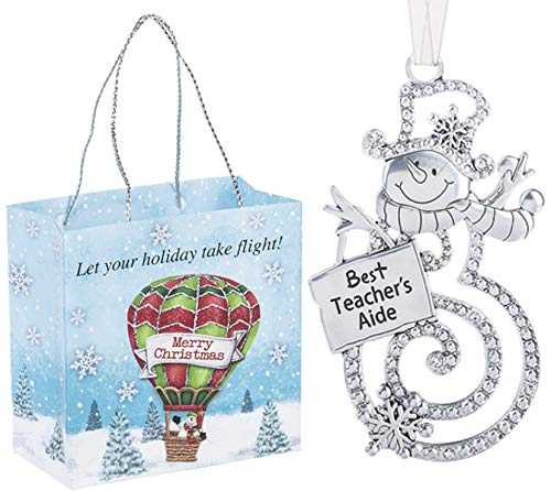 Ganz U.S.A., LLC Best Teacher's AIDE Swirls of Christmas Snowman Ornaments 2 Sided for Holiday Christmas Tree Decor Teacher Gifts from Kids 2019 Presented in a Holiday Bag with a Snowman