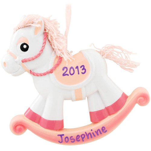 Polar X Personalizable Christmas Ornament Pink Rocking Horse