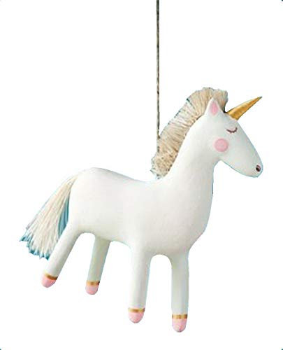 Glitterville Pink Gold Ivory Unicorn Christmas Tree Ornament 4.75″ Tall