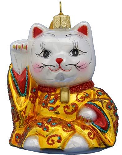 Landmark Creations Sir Maneki Neko Japanese Good Luck Cat Glass Ornament