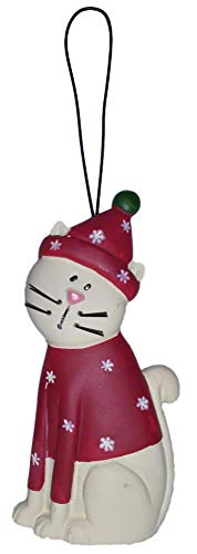 Blossom Bucket Christmas White Kitty Cat in Red Snowflake Sweater & Hat Resin Ornament #2