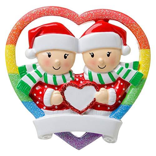 Polar X Rainbow Heart Same Sex Couple (Female) Pride LGBT Personalized Christmas Ornament