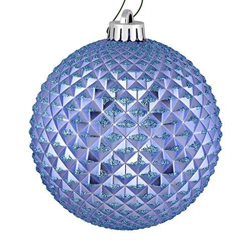 Vickerman 530368-4″ Periwinkle Durian Glitter Ball Christmas Tree Ornament (6 pack) (N188529D)