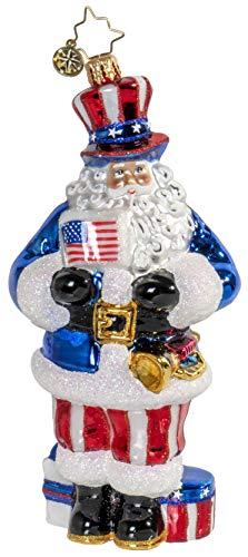 Christopher Radko Jolly Patriotic Santa Claus! Christmas Ornament