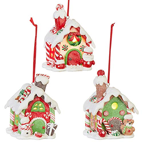RAZ Imports Set of 3 Gingerbread House Ornaments 3.75″ Lighted Claydough Christmas Village 3916194