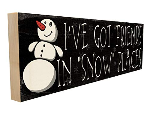 Funny Snowman Wood Block Sign with Winter Saying or Quote for the Christmas Holiday Season. Friends in Snow Places. Perfect for Family. Custom Handmade Wooden Plaque. Home, School or Office Wall Decor
