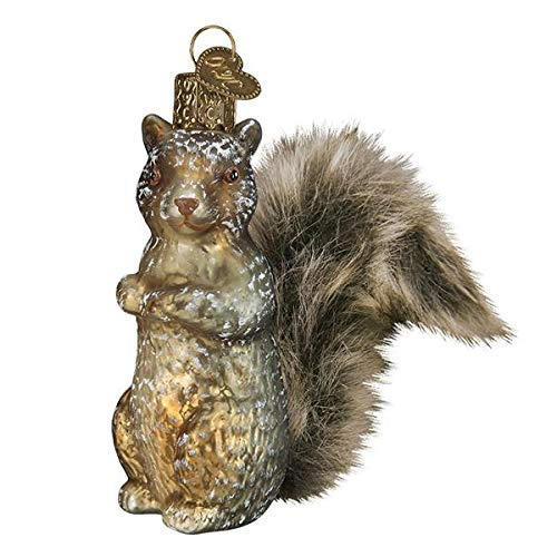 Old-World-Christmas Glass Blown Ornament with S-Hook and Gift Box, Vintage Forest Collection (Vintage Squirrel, 51012)
