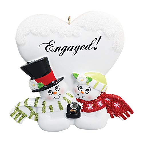 Personalized Engaged! Christmas Tree Ornament 2019 – Cute Romantic Snowman Couple Diamond Engagement Ring Heart She Said YES Marry Me White 1st Happy Gift First Propose Year – Free Customization