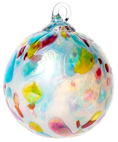 Red Co. Iridescent Glass Eye Studio Hand Blown Ball Ornament, Opal Confetti