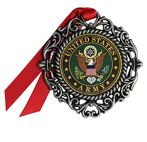 Gloria Duchin 2019 Military Pewter Christmas Tree Ornaments. Various Styles for Army, Navy, Marines and Air Force (Army Wreath)