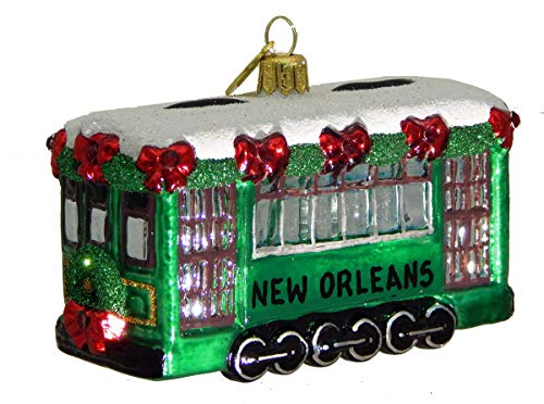 Landmark Creations' St.Charles Streetcar European Glass Christmas Ornament