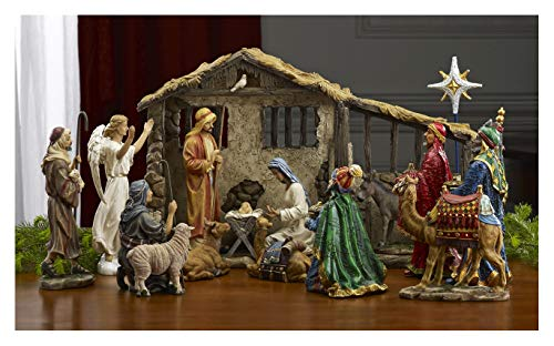 16 Piece Deluxe Edition Christmas Nativity Set with Real Frankincense Gold and Myrrh – 14 inch Scale