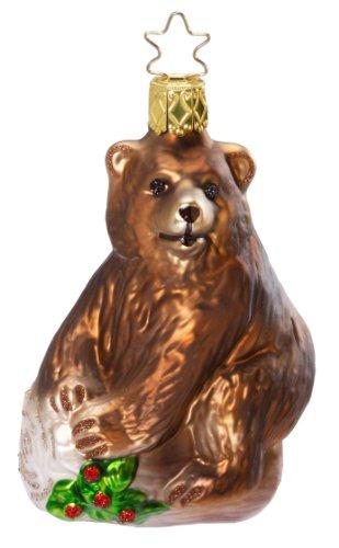 Inge Glas Bear King of the Woods 1-019-11 German Glass Christmas Ornament