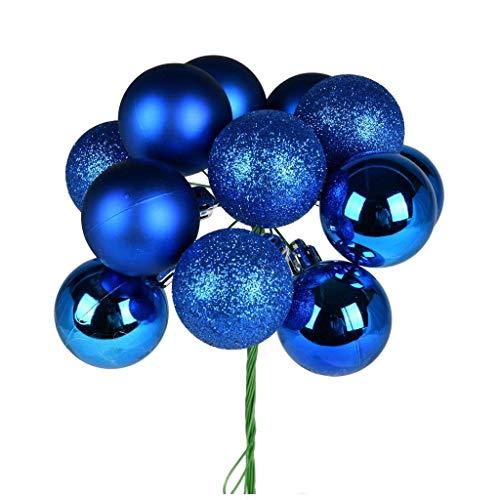 Vickerman 591697-12″ Blue Ball Christmas Tree Ornament Pick (4 pack) (N192502)