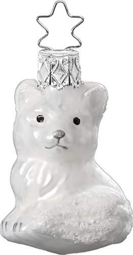 Inge-Glas Snow Fox 10031S019 German Glass Christmas Ornament