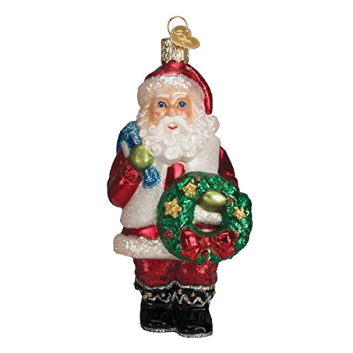 Old World Christmas Ornaments: Assortment of Santas Glass Blown Ornaments for Christmas Tree, Santa with Wreath