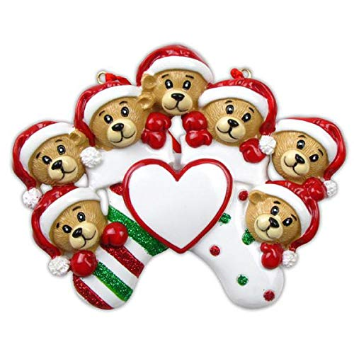 Polar X 7 Bears/Family Clinging to Stocking Personalized Christmas Ornament (Family Series)